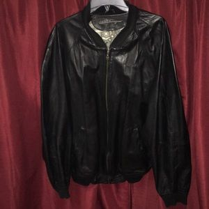 Salvatore Ferragamo leather coat w suede lining